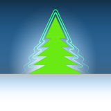 Christmas green tree silhouette with flare Stock Images