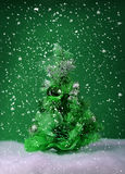 Christmas green tree and snow Stock Image