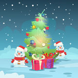 Christmas Green Tree Snowman Greeting Card Decoration Happy New Year Banner. Flat Vector Illustration Stock Photography