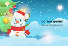 Christmas Green Tree Snowman Greeting Card Decoration Happy New Year Banner. Flat Vector Illustration Stock Photos