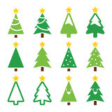 Christmas green tree with star  icons set Royalty Free Stock Photos