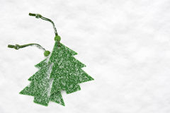 Christmas green tree toys in snow Royalty Free Stock Photography