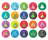 Christmas green tree - various types vector flat design icons set Royalty Free Stock Image