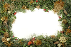 Christmas greenery and decorations. Gold and red Stock Photography