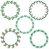 Christmas greenery wreath frames. Christmas borders circular wreath frames Royalty Free Stock Photography