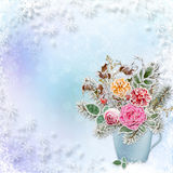 Christmas greeting background a bouquet of flowers and branches with hoarfrost Royalty Free Stock Photos