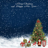 Christmas greeting background with Christmas tree and gifts Royalty Free Stock Image