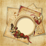 Christmas greeting background with old card and fr Stock Photography