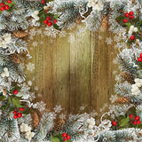 Christmas greeting background with pine branches and berries Stock Photos