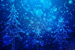 Christmas greeting background with snowflakes, Christmas and New year background royalty free illustration