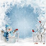 Christmas greeting background with a snowman near the fence and bullfinches on the branches of a tree royalty free illustration