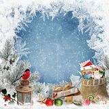 Christmas greeting background with space for text, with gifts, a lantern, a bullfinch, a bag of letters and sweets and frosty patt royalty free illustration