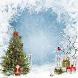 Christmas greeting background with space for text, with a Christmas tree, Santa Claus and gifts royalty free illustration