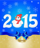 Christmas greeting banner. Happy New Year 2015 From Snow With Snowman and Santa Hat Stock Photography