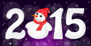 Christmas greeting banner. Happy New Year 2015 From Snow With Snowman and Santa Hat Stock Photo