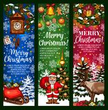 Christmas greeting banner with holiday sketches Stock Photography
