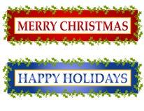 Christmas Greeting Banners Or Logos Stock Image