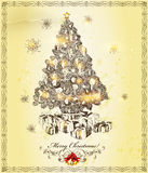 Christmas  greeting beige card Stock Photo