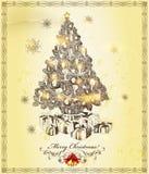 Christmas Greeting Beige Card Stock Photo