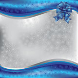 Christmas greeting with blue bow Royalty Free Stock Photo