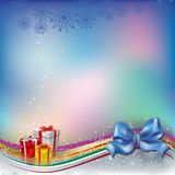 Christmas greeting with blue bow Stock Image