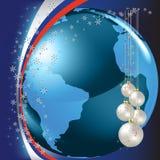 Christmas greeting blue globe on dark Stock Photography
