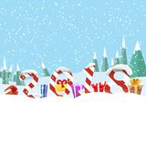 Christmas greeting board vector illustration. Gifts and digits against the background of snowed up forest. Christmas greeting board vector illustration. Merry Stock Images