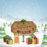 Christmas greeting board vector illustration. Stock Image