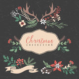 Christmas greeting bouquets with flowers, berries and antlers. Stock Images