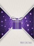 Christmas greeting with bursting purple christmas gift Royalty Free Stock Image