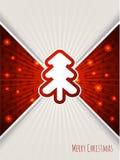 Christmas greeting with bursting red christmas tree Stock Photography