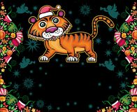 Christmas greeting card. Vector Christmas greeting card with cute tiger in Santa's hat Stock Image