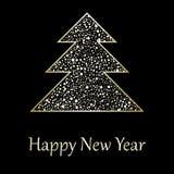 Christmas greeting card. With gold christmas tree Stock Image