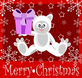 Christmas greeting card with sweet cartoon bear. Christmas greeting card with an happy white bear Royalty Free Stock Photography