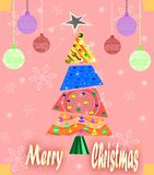 Christmas greeting card with tree and decorations Royalty Free Stock Photo