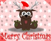 Christmas greeting card with cartoon reindeer Royalty Free Stock Images