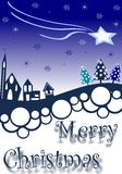 Christmas greeting card with village in blue tones Stock Images