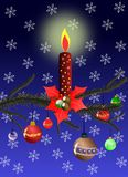 Christmas greeting card with red candle Stock Photography