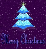 Christmas greeting card with christmas tree Royalty Free Stock Photo