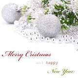 Christmas greeting card. With text isolated on white Royalty Free Stock Image
