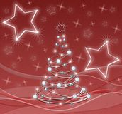 Stylized christmas tree with stars in red Royalty Free Stock Photos