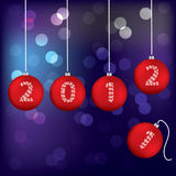 Christmas greeting card. With red balls Royalty Free Stock Images
