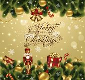 Christmas greeting card. Christmas festive card with ornamental decorated background with fir and gifts Stock Photo
