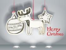Christmas greeting card. Vector Christmas illustration of christmas toys stock illustration