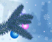 Christmas greeting card. With christmas tree and baubles Stock Photography