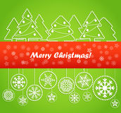 Christmas greeting card. Abstract toys and forest. Merry Christmas Royalty Free Stock Image
