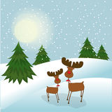 Christmas greeting card. With reindeers Royalty Free Stock Photos