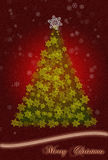 Christmas greeting card. Merry Christmas greeting card illustration with green christmas tree and snow, with white and yellow stars on dark red background Royalty Free Stock Image