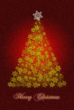 Christmas greeting card. Merry Christmas greeting card illustration with yellow christmas tree, white and yellow stars on dark red background Royalty Free Stock Image