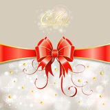 Christmas Greeting Card. With Ribbon and Bow, vector illustration Stock Photos